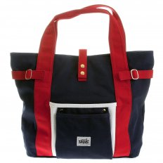 Unisex Navy Canvas with Red Canvas Handles and Trim Hand Carry Bag