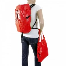 Unisex Red Lightweight Nylon Backpack with Logo on Top Flap