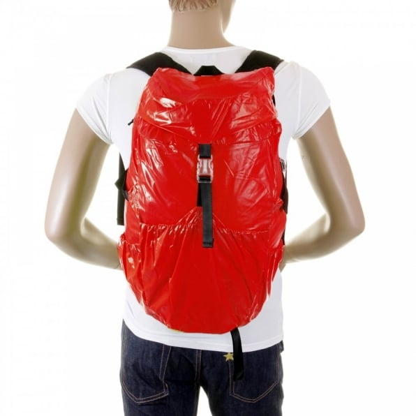 RMC MKWS Unisex Red Lightweight Nylon Backpack with Logo on Top Flap