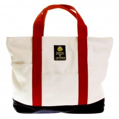 Unisex White Canvas with Navy Canvas Base and Red Canvas Handles Shopper Bag