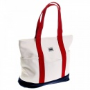RMC MKWS Unisex White Canvas with Navy Canvas Base and Red Canvas Handles Shopper Bag