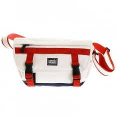 Unisex White Canvas with Red and Navy Canvas Trim Shoulder Bag