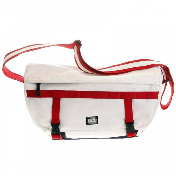 RMC MKWS Unisex White Canvas with Red and Navy Canvas Trip Shoulder Bag