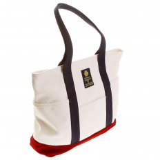 Unisex White Canvas with Red Canvas Base and Navy Canvas Handles Shopper Bag