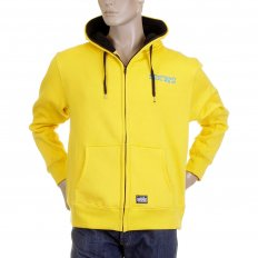Yellow Hooded Zipped Regular Fit Sweatshirt