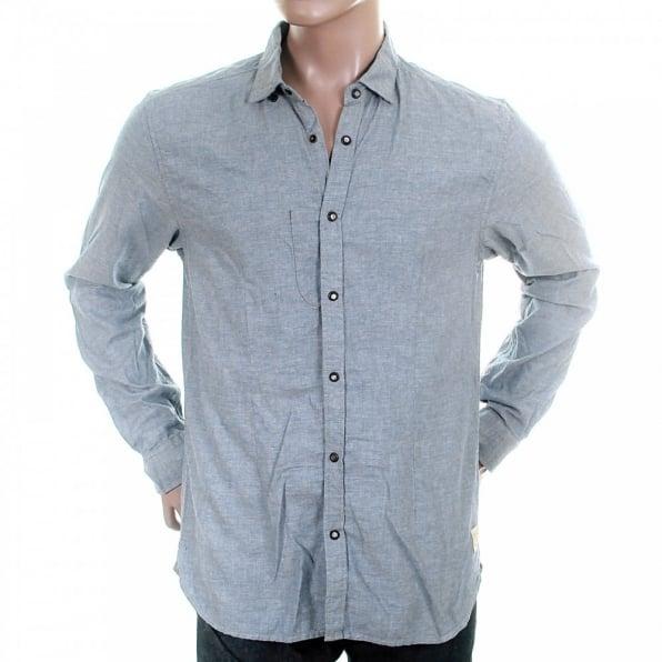 SCOTCH & SODA Blue Soft Cotton Long Sleeve Regular Fit Button Down Soft Collar Shirt
