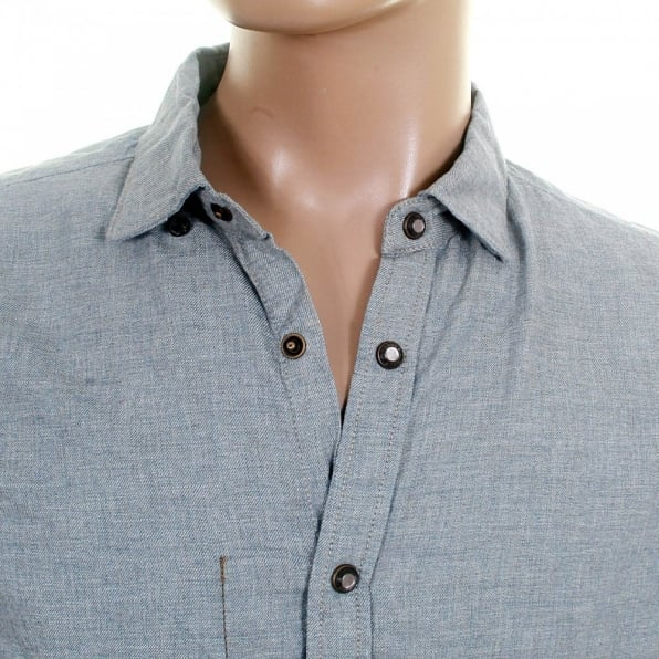 SCOTCH & SODA Blue Soft Cotton Long Sleeve Regular Fit Button Down Soft Collar Shirt