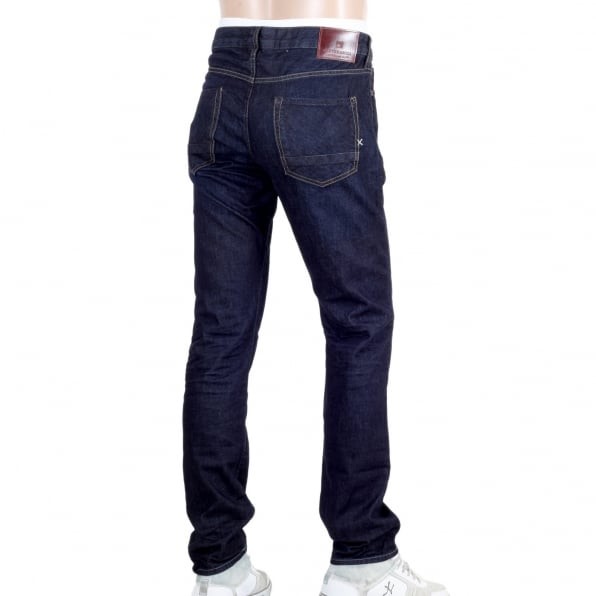 SCOTCH & SODA Dark Indigo Slim Fit Ralston Touchdown Denim Jeans with Three Individual Coloured Fly Buttons