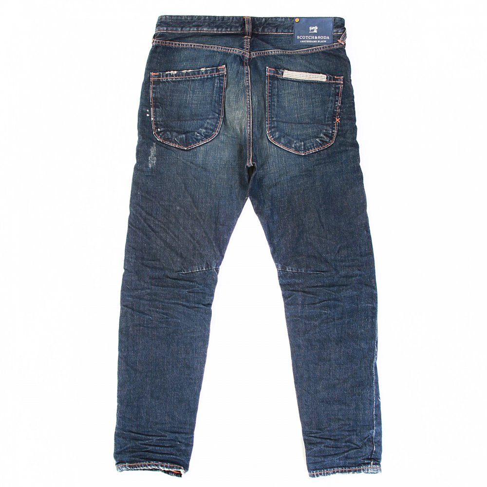 ... SCOTCH & SODA Dean Dark Indigo Washed Worn Vintage Finish Tapered Loose  Fit Denim Jeans ...