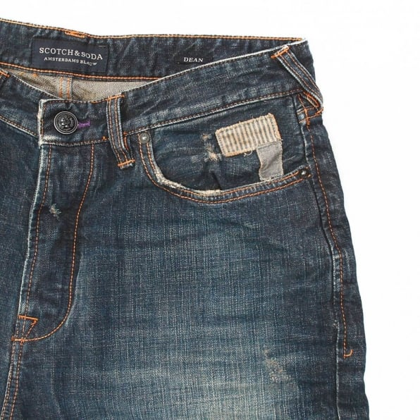 SCOTCH & SODA Dean Dark Indigo Washed Worn Vintage Finish Tapered Loose Fit Denim Jeans