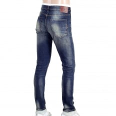 Hard Wash Blue Denim Jeans with Skinny Fit with a Zip Fly