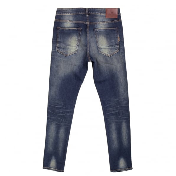 SCOTCH & SODA Hard Wash Blue Denim Jeans with Skinny Fit with a Zip Fly
