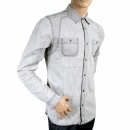 SCOTCH & SODA Light Grey Long Sleeve Regular Fit Vintage Marble Washed Cotton Shirt