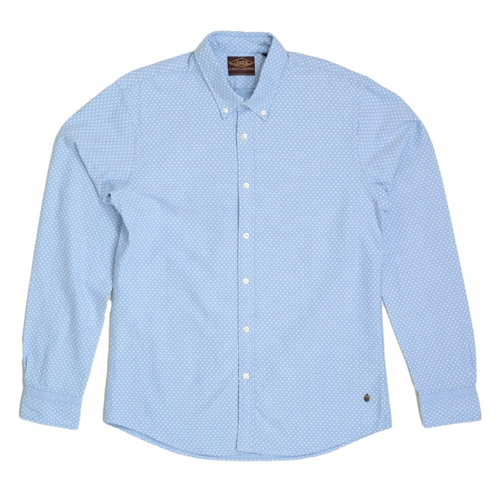 Sky blue polka dot long sleeve shirt by scotch and soda for Button down polka dot shirt