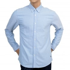 Long Sleeve Regular Fit Sky Blue Shirt with Diamond Polka Dot Pattern, Soft Button Down Collar and Round Tail