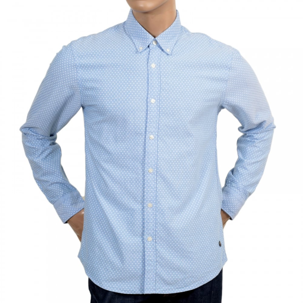 Sky blue polka dot long sleeve shirt by scotch and soda for Long sleeve shirt pattern