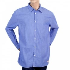 Mens 100% Cotton Blue and White Striped Shirt with Long Sleeve