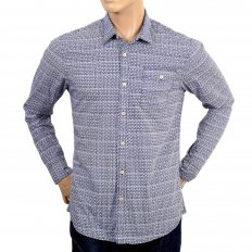 Mens 100% Cotton Regular Fit Long Sleeve Printed Shirt