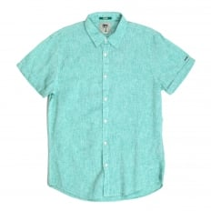 Mens Aqua Regular Fit Short Sleeve Linen and Cotton Mix Shirt with Turned Back Sleve Cuffs by Scotch and Soda