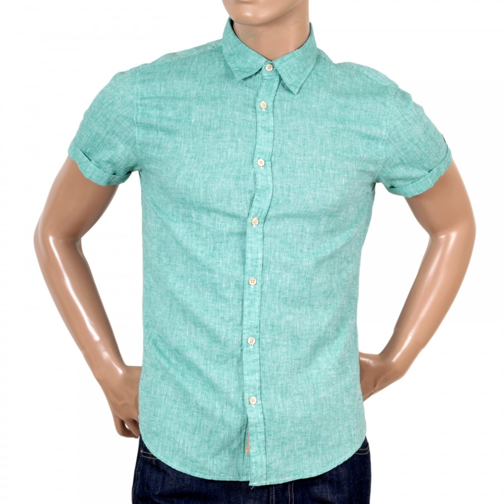 7df45043a ... SCOTCH & SODA Mens Aqua Regular Fit Short Sleeve Linen and Cotton Mix  Shirt with Turned ...