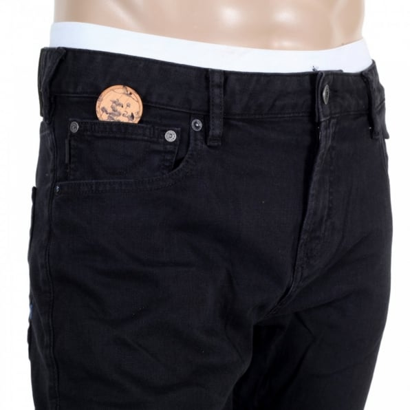 SCOTCH & SODA Mens Black Stretch Denim Skinny Jeans