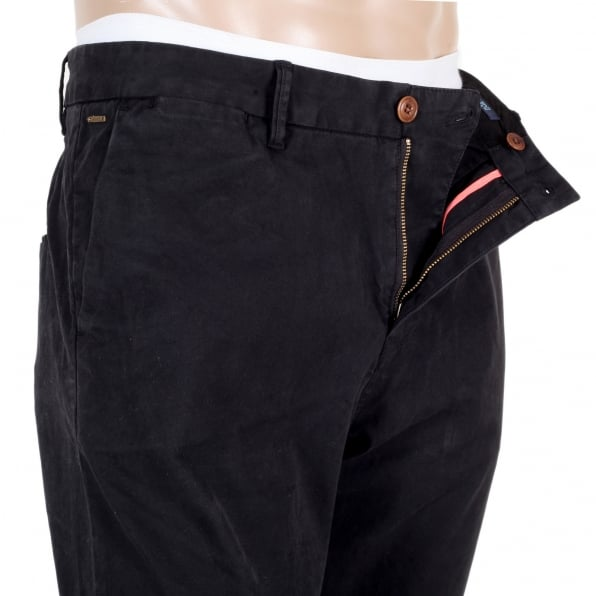 SCOTCH & SODA Mens Black Stuart Stretch Cotton Slim Fit Chinos with Zip Fly