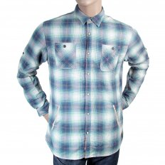 Mens Blue and Mint Green Bond Check Long Sleeve Regular Fit Cotton Shirt