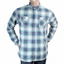SCOTCH & SODA Mens Blue and Mint Green Bond Check Long Sleeve Regular Fit Cotton Shirt