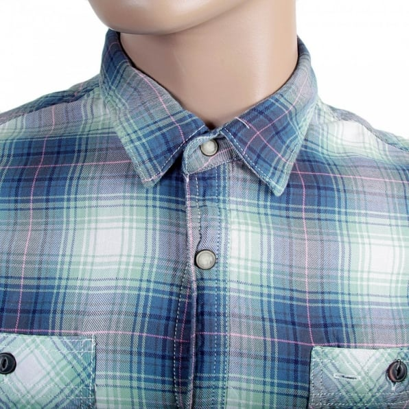 SCOTCH & SODA Mens Blue and Mint Green Bond Check Long Sleeve Regular Fit Cotton Shirt