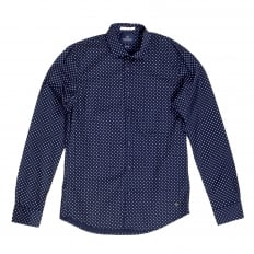 Mens Classic Slim Fit Stretch Cotton Long Sleeve Navy Shirt with Jacquard Printed Circles by Scotch and Soda