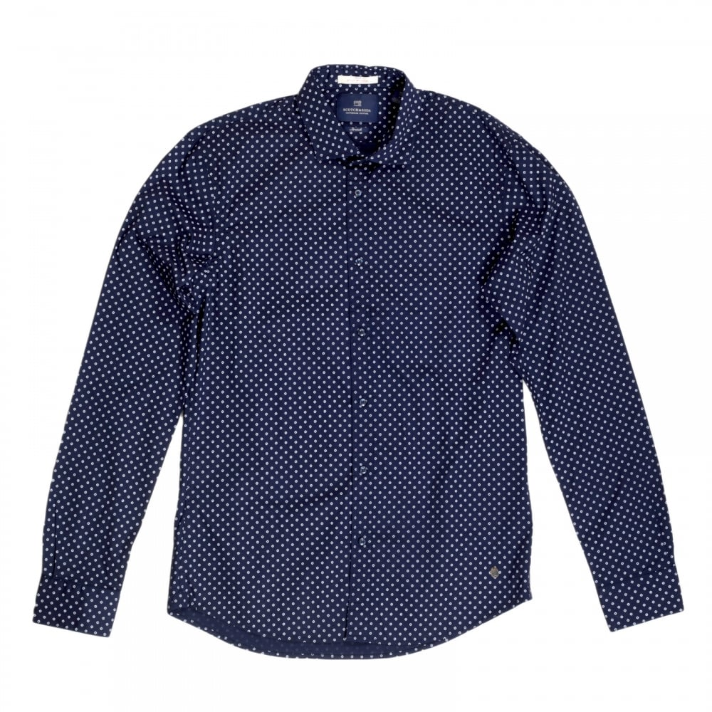 2f5b7a0d4fe5 SCOTCH & SODA Mens Classic Slim Fit Stretch Cotton Long Sleeve Navy Shirt  with Jacquard Printed Circles by Scotch and Soda