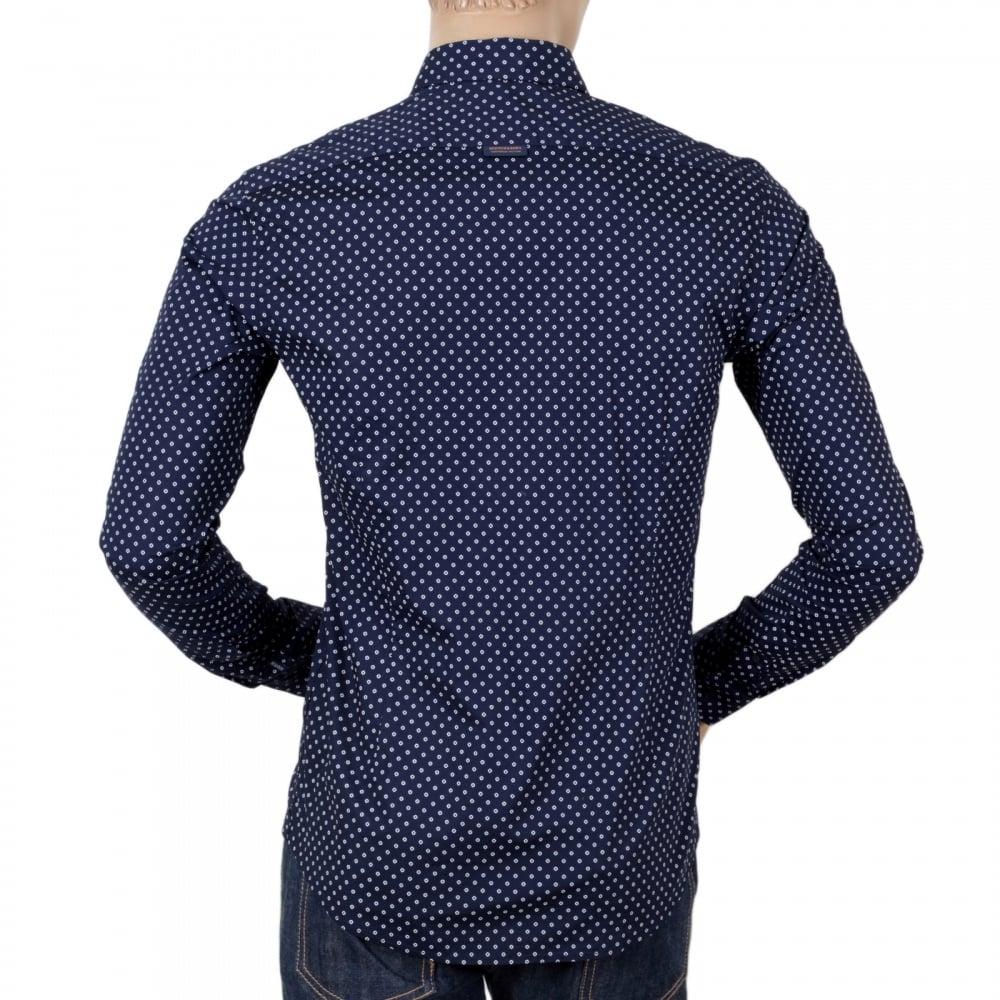 Print Navy Blue Slim Fit Mens Shirts by Scotch and Soda