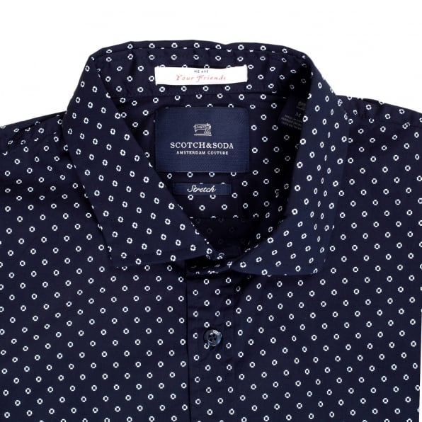 SCOTCH & SODA Mens Classic Slim Fit Stretch Cotton Long Sleeve Navy Shirt with Jacquard Printed Circles by Scotch and Soda