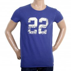 Mens Cobalt Blue Short Sleeve Printed T-Shirt
