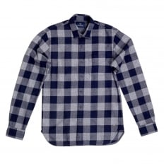 Mens Cotton Made Classic Slim Fit Long Sleeve Soft Navy Check Shirt with Soft Collar by Scotch and Soda
