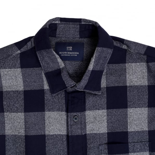 SCOTCH & SODA Mens Cotton Made Classic Slim Fit Long Sleeve Soft Navy Check Shirt with Soft Collar by Scotch and Soda