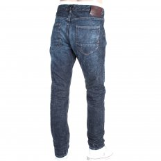 Mens Dark Indigo Heavily Stonewashed Regular Taper Fit Denim Jeans