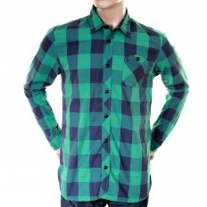 Mens Green and Blue Big Check Cotton Long Sleeve Regular Fit Shirt