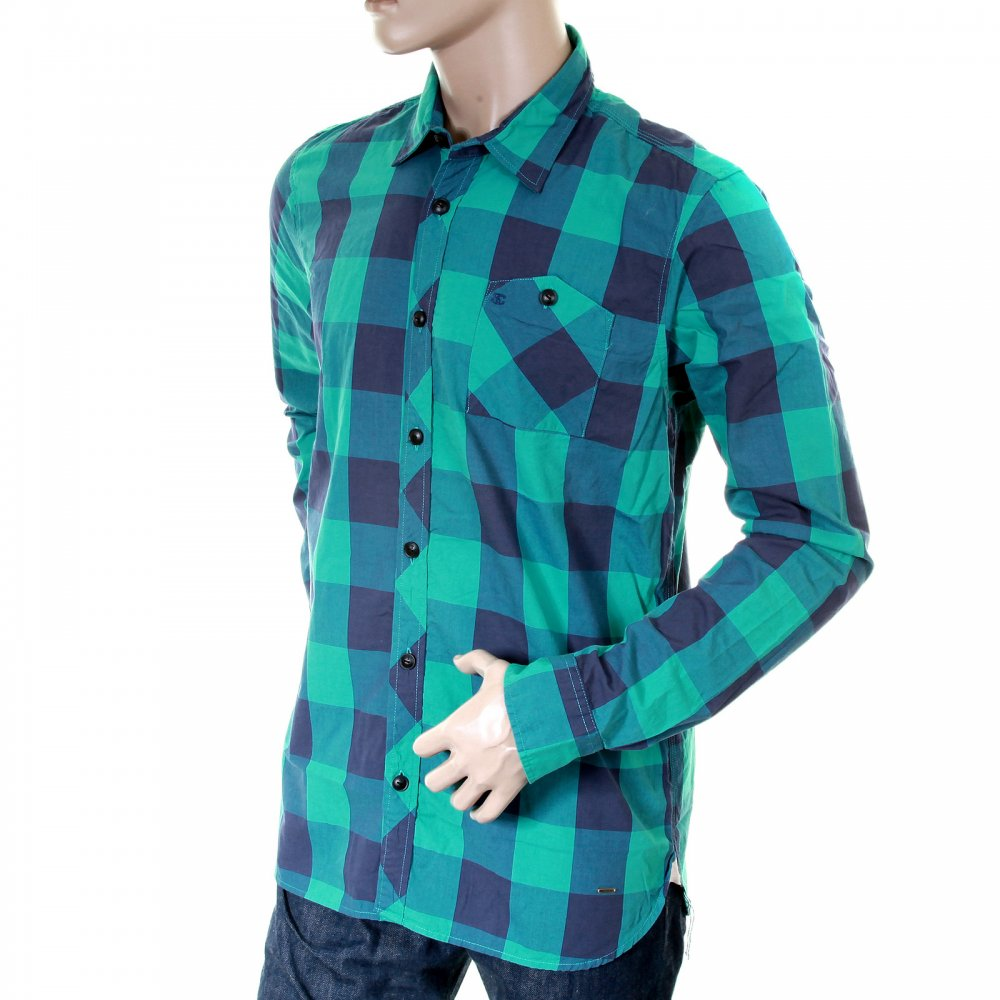 amazing green and blue checked shirt by scotch and soda