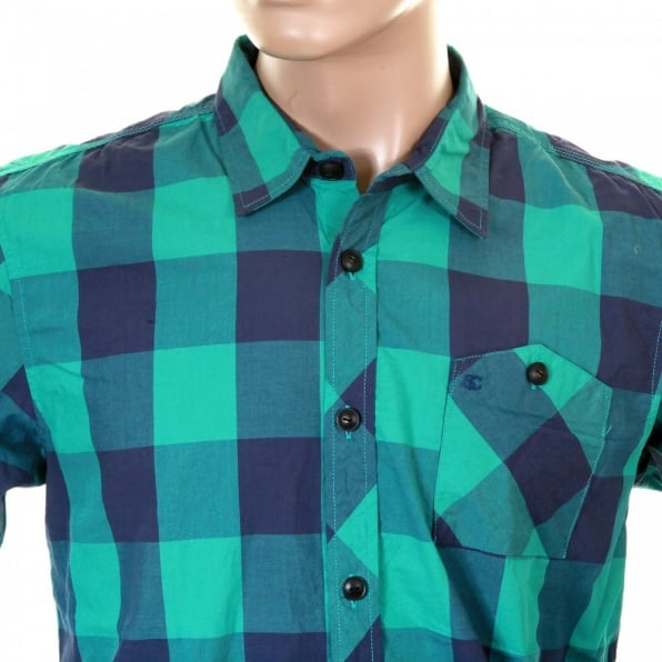 SCOTCH & SODA Mens Green and Blue Big Check Cotton Long Sleeve Regular Fit Shirt