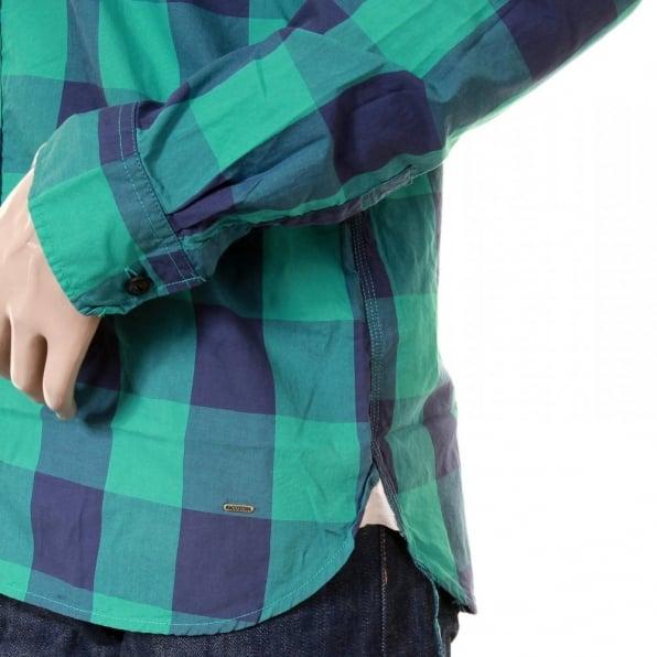 SCOTCH & SODA Mens Green and Blue Big Check Cotton Long Sleeve Regular Fit Shirt