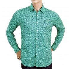 Mens Green and Navy Jacquard Cotton Regular Fit Printed Shirt