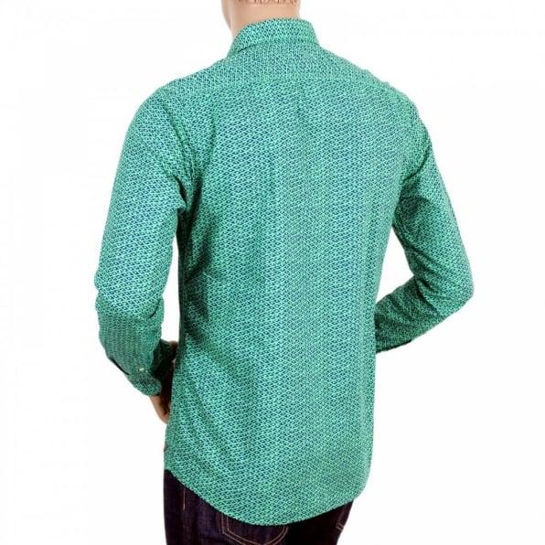 SCOTCH & SODA Mens Green and Navy Jacquard Cotton Regular Fit Printed Shirt