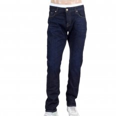 Mens Indigo Blue Washed Slim Fit Denim Jeans