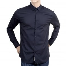 Mens Long Sleeve Stretch Cotton Slim Fit Shirt in Dark Navy Blue with Logo Embossed Buttons and Rounded Tail