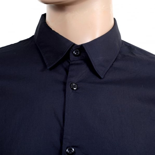 SCOTCH & SODA Mens Long Sleeve Stretch Cotton Slim Fit Shirt in Dark Navy Blue with Logo Embossed Buttons and Rounded Tail