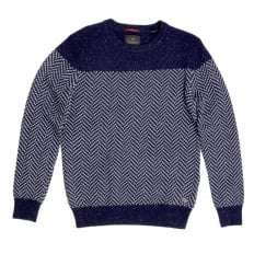 Mens Navy Regular Fit Crew Neck Jacquard Patterned Jumper by Scotch and Soda SCOT5606
