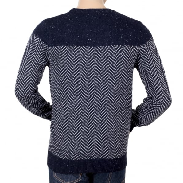 SCOTCH & SODA Mens Navy Regular Fit Crew Neck Jacquard Patterned Jumper by Scotch and Soda SCOT5606