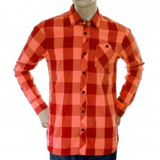 Mens Orange and Crimson Big Check Cotton Long Sleeve Regular Fit Shirt