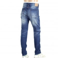 Mens Ralston Regular Slim Fit Jeans with Whiskering and Heavy Fading
